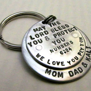 Hand Stamped Metal Key Chain  Layered and by FiredUpLadiesHammer