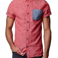 Modern Amusement Pop Chambray Solid Woven Shirt - Mens Shirt - Red