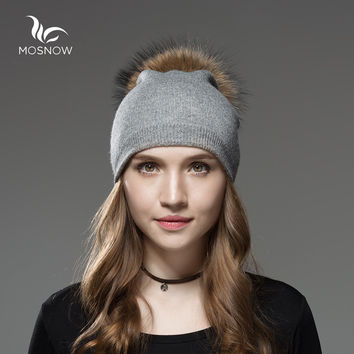 Mosnow Wool Raccoon Fox Fur Pom Poms Winter Hats Asymmetry High Quality Knitted Vogue Warm Casual Hat Female Skullies Beanies