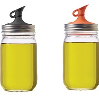Jarware Mason Jar Re-Purposing Oil Cruet Pour Spout Lid - Fits Regular Mouth Jars