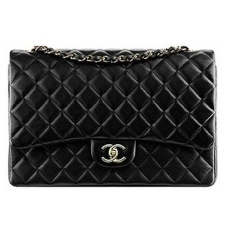 VONW3Q Simple-Chanel Women's Black Large Classic Flap Jumbo Chain Bag