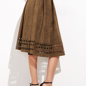 Brown Suede Laser Midi Skirt