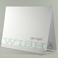 Birthday Wish Simply Stated Handmade Greeting Card Blue, White, Wine