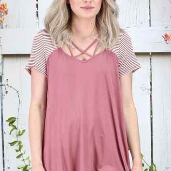 Strappy Stripes Blocked Top {Mauve}