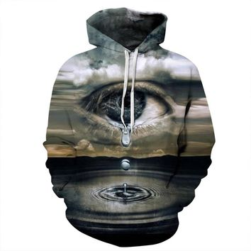 Crying Eyes Sky Water Drip Tears River All Over Print Hoodie Sweater