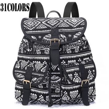 Sansarya New 2017 School Bag Bohemian Vintage Women Backpack Drawstring Printing Canvas Bagpack