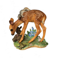 Figurine Deer Porcelain Woodland Scene Fawn Animals Franklin Mint Statue Home Accent