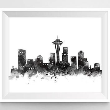 Seattle Print, Seattle Skyline, Black and White, Wall Art Print, Washington Watercolor Printable USA Travel Gift Home Decor Digital Download