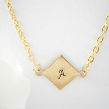 Initial Necklace - Monogram Necklaces - Gold Plated Jewelry - Personalized Jewelry - Bridesmaid Gift - Custom Jewellery - Hand Stamped