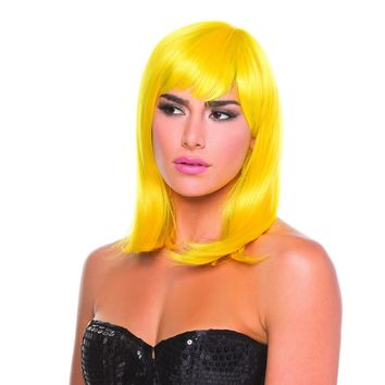 Yellow Solid Color Doll Bangs Wig