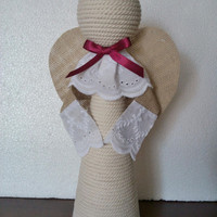 2 Rope Angels Christmas Figures Decor, Lace Ribbon and Jute Angels, Happy holidays, Rope doll