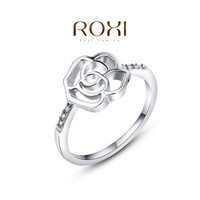 New Exquisite Hollow-Out Rose Flower Ring 18k White Gold Plated / Rose Gold Plated With AAA Zircon Fashion Micro-Inserted Jewelry Christmas Gift For Women