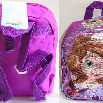 Licensed cool Disney JUNIOR SOFIA THE FIRST PRINCESS MINI Pink Sequin Backpack Book Bag Purse