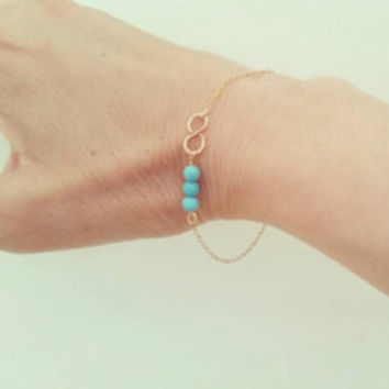 Infinity Bracelet, Turquoise Friendship 14k Gold Filled Sterling Silver Dainty Stone Bracelet, Bridesmaids Wedding Party Gift, Minimal Love