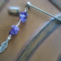 Amethyst Industrial Piercing Barbell Purple Stone Chip Feather Leaf Charm Earring Ear Bar 14g 14 G Gauge