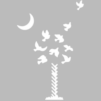 Charleston Dove Palmetto Tree and Moon Decal