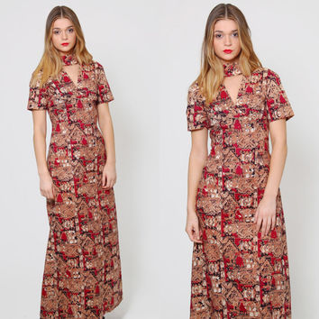 Vintage 70s BATIK Caftan Burgundy Short Sleeve ETHNIC Maxi Dress Boho Chic Cut Out Gypsy Dress