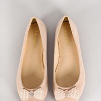 Bamboo Synergy-01 Pearl Bow Ballet Flat