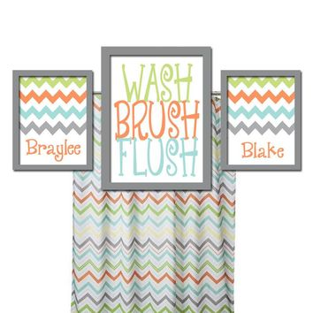 Brother Sister BATHROOM Wall Art, Canvas or Prints Boy Girl Bathroom Child Custom Bathroom WASH Brush Flush Set of 3 CHEVRON Bathroom Rules