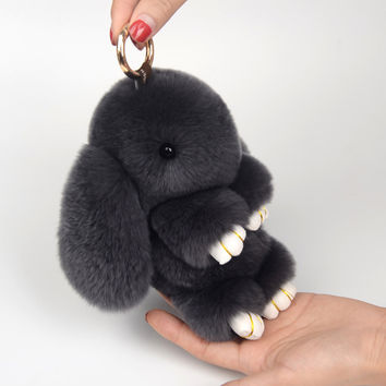 Rex rabbit Fur Keychain Cute Mini fluffy Rabbit Doll Real Fur pom pom Key chains Pompon keyring for women Bag Charm Pendant gift
