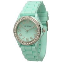 Women's Geneva Rhinestone-accented Silicone Watch - Mint Green