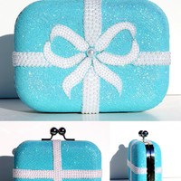 Tiffany Blue Clutch with Swarovski Crystal & Pearls
