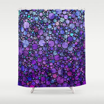 "Purple Shower Curtain, ""Purple Appetite"" , circles, abstract, beautiful, artistic, unique fabric , teal, purple, colorful, bathroom decor,"
