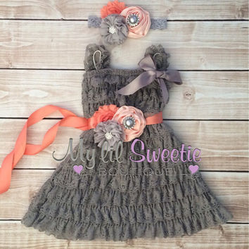 New Gray and peach set, dress, sash , 3pc set , headband, Lace dress, baby girl outfit, special occasion dress, toddler dress