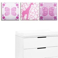 Rose Butterfly & Giraffe Party Print Set of 3