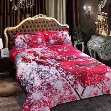 3D Santa Claus Riding Sleigh Printed Luxury 4-Piece Red Bedding Sets/Duvet Covers