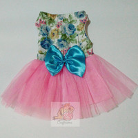 Pet tutu in vintage floral design for dogs, cat, puppies, and other pets