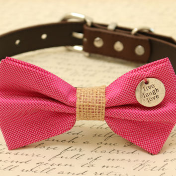 Hot Pink Dog Bow Tie attached to collar, Pet wedding, Valentine's day gift
