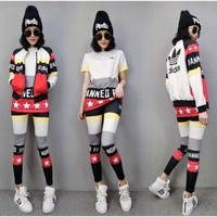 ICIKYE 3 Pcs set 'Adidas' Fashion Leisure Movement Suit
