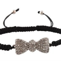2 Pieces of Black with Silvertone Iced Out Bow Tie Shamballah Lace Bracelet