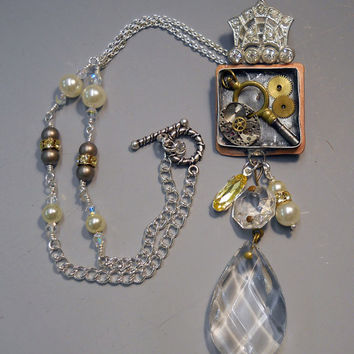 Steampunk Necklace Vintage Brooch, Watch, Key and Lamp Crystal components