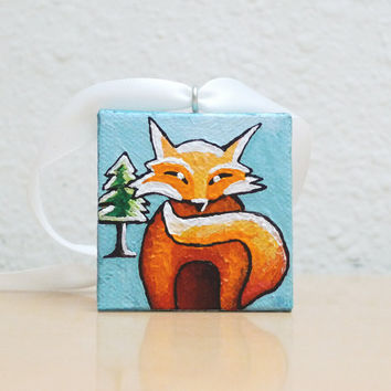 Red Fox Art, Hand Painted Christmas Tree Ornament, Acrylic Painting, Adorable Christmas Gift with Box