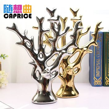 Ceramic ornaments modern minimalist fashion crafts, gold and silver rich coral tree lucky tree Home Furnishing Decor