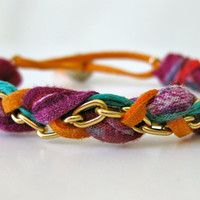 Bright Multi-Colored Fabric and Chain Bracelet