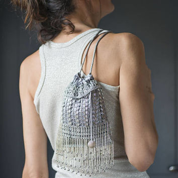 Grey Beaded Bucket Purse. Evening Bag Beaded Crochet Hand made. Small Lady Purse for Party. Drawstring Bucket Bag Wedding Fashion Silver