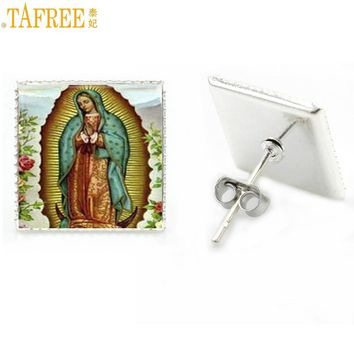 TAFREE classic religious women jewelry Our Lady of Guadalupe Blessed Virgin Mary stud earrings Statue of Liberty New York AA90