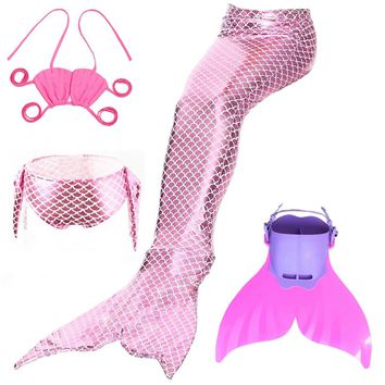 50% price 24eb1 ec838 4pcsset Swimmable Children Mermaid Tail With Monofin  Fin Girls ... 52a060a910