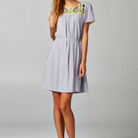 Embroidered Neck Line Tunic Dress