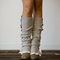 Lace Button Up Knitted Leg Warmers Trim Boot Socks - Women's Fashion Winter Accessories LW-LTGRYBU