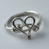 Silver Heart Ring Custom Size by DistortedEarth on Etsy