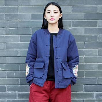 Trendy Johnature Embroidery Vintage Winter Jackets Women Pockets Button 2018 New Button Chinese Style Cotton Linen Warm Jackets Coats AT_94_13
