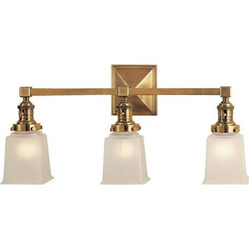 Visual Comfort and Company SL2943HAB-FG Antique Brass Boston Square Three-Light Fixture