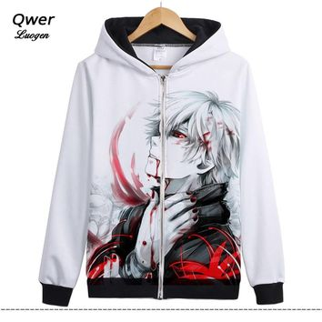 HOT Japan Anime Tokyo Ghoul Kaneki Ken Coat Unisex Zipper Hoodies Anime Cosplay Costumes