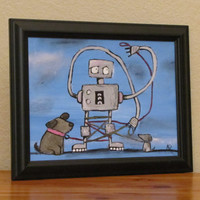 Robot Original Art Artwork for Boy by Andrea Doss 12 by andralynn