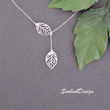 Leaf Necklace   Silver Fall Leaves Necklace  by SnobishDesign