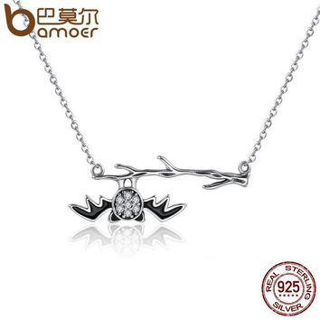 925 Sterling Silver Fantasy Bat on Branch Clear Women Pendant Necklaces Sterling Silver Jewelry Halloween Gift SCN102